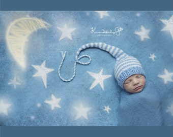 Newborn Knit Baby Boy Hat BaBY PHoTO PRoP Long Tail Stocking Cap PiXiE BeANiE Blue White Stripe MuNCHKiN Hat CoMINg HoME Toque Pick Colors
