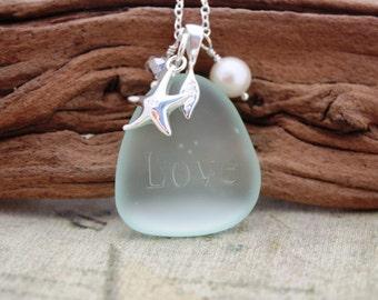 Aqua Sea Glass Jewelry Sea Glass Necklace Seaglass Necklace Seaglass Jewelry Wedding Jewelry Bridal Jewelry Bridesmaid Jewelry Engraved 012
