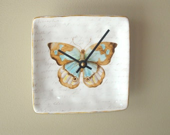 6 Inch Small Butterfly Wall Clock, Silent Ceramic Plate Clock, Unique Wall Decor, Kitchen Clock, Butterfly Wall Clock - 2482