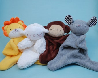 Lovey Dovey Lion, Lamb, Monkey, Mouse - PDF Sewing Pattern For Baby Lovies