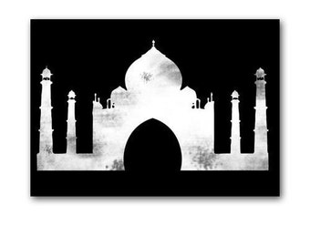 The Taj Mahal - Fine art print, Black and White silhouette, monument of love, Agra, India