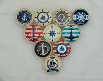 Set of 10 Anchors Away Nautical Cabinet Knobs