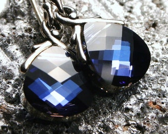 Sapphire Blue Earrings Jaybird Maliblu Metallic Periwinkle Violet Navy Swarovski Flat Briolette Petite Dangle Bluejay Drops Montana Mystique
