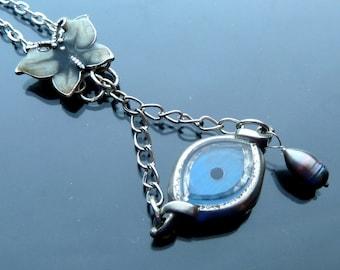 Steampunk Eye Spy a Butterfly Necklace watch parts silver peacock pearl teardrop enamel blue jewelry