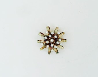 Authentic Carl Art Brooch / Vintage Gold Pendant with Pearls / gold-filled pin pendant brooch