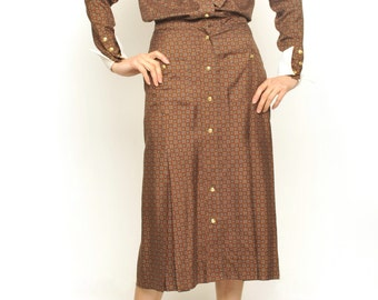 Paisley Pattern Brown Silk Dress