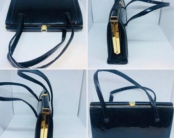 Vintage handbag, 1960s, patent handbag, black bag.