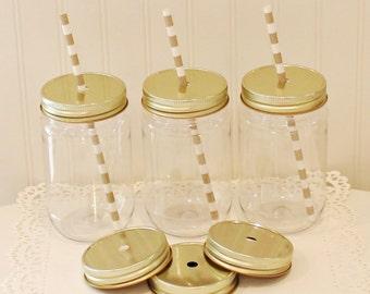 Mason Jar, 15 Plastic Mason Jars, Standard 17 Oz Jar, Mason Jars with Metal Straw Hole Lid, Mason Jar with Lid, Mason Jar Cup, Wedding Favor
