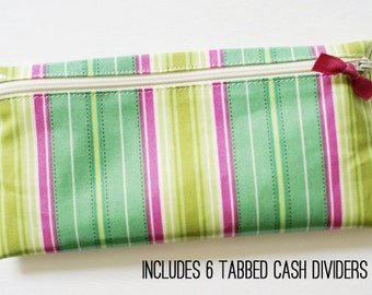Cash system budget wallet with 6 tabbed dividers   turquoise, pink, green stripes designer laminated cotton fabric