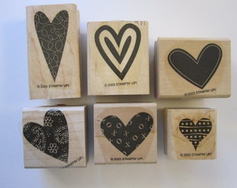 6 rubber stamps - Stampin Up HAPPY HEARTS - 6 of 7 stamp set, gently used stamps - heart stamps - 2003