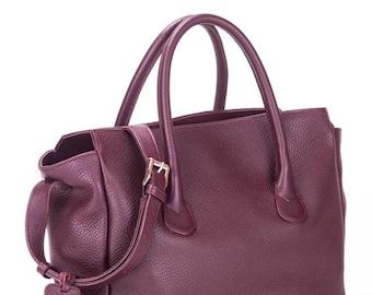 Leather handbag, leather tote, italian leather bag, Burgundy leather handbag, Leather handbag