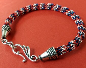 Patriotic Red, Silver, and Blue Viking Knit Bracelet with hook clasp