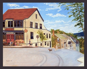 Dobbs Ferry: Cedar and Main with Library by Ronnie Levine