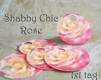 42- COTTAGE SHABBY Rose,1x1 round tags,Gift Tags, Favor Tags,Price Tags,Favor Tags, Thank you tags, Necklace Tags, Bracelet Tags, Price Tags