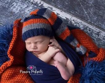 Knitted Long Sleeping Baby Hat & Mini Blanket