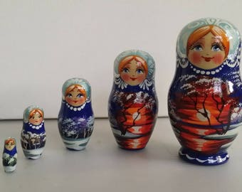 Very nice miniature matryoshka, nesting doll, nesting dolls winter landscape 5 pieces