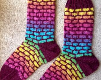 Mosaic Brick Patterned Hand Knit Wool Socks Opal Yarns (S-233)
