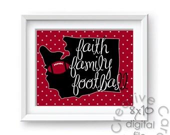 Eastern Washington Eagles Faith, Family, Football - 8x10 INSTANT Digital Copy
