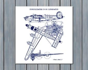"B24 Liberator Blueprint, Consolidated B-24 Liberator, Airplane Blueprint, Aircraft Decor, Blueprint Art, Instant Download, 11.5x11.5"","