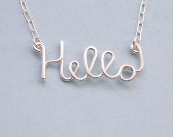 Hello Necklace - all sterling silver - etsyprojectembrace