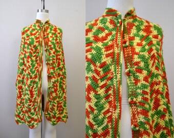 1970s Variegated Crochet Cape
