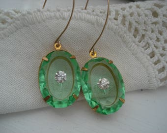 1920's Art Deco Vintage Etched Faceted Czech Peridot Crystal Glass Gold Earrings