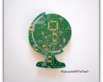 Earth Silhouette Cut Out of Recycled Circuit Board - Choose Option: Magnet, Pin or Hanging Ornament?