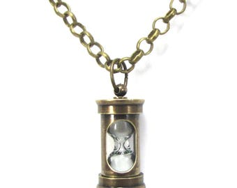 Hourglass Necklace, Miniature Antiqued Brass Hourglass Pendant, Steampunk Jewelry, Bohemian Jewelry, Item 1546n
