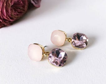 Earrings in pink and purple and gold: statements