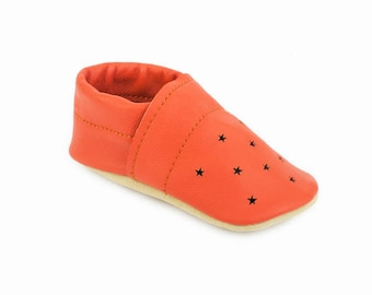 Soft sole leather shoes / Star punch summer loafers / Eco-friendly rescued leather / Feet shaped barefoot moccasins / toddler girl boy gift