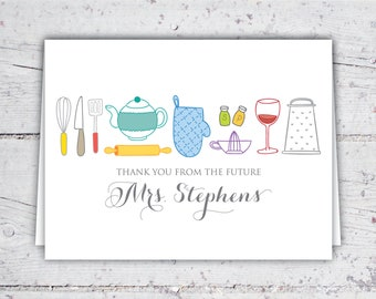 Thank You From The Future Mrs. Kitchen Themed Bridal Shower Thank You Notes | 5.5 x 4 | Digital Download | Printable | Custom Thank You Note