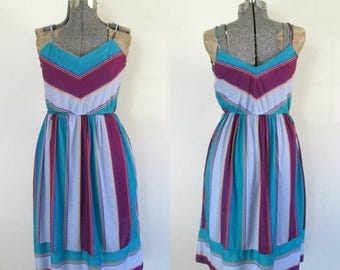 Striped Summer Sundress // Vintage 1970s Chevron Stripes Dress // Shades of Blue and Purple