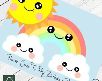 Cute Sun Rainbow & Cloud Party Invitations 16 per pack Kawaii Party Invites