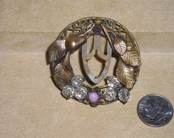 Vintage Solid Brass Alloy Dress Clip With Pink Glass Cut Crystals And Pear 1930's Jewelry 11296