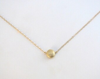 Brushed Gold Drop Necklace, Gold Pebble Necklace, Gold Dot Necklace, Simple Everyday Necklace - 14K Gold-Filled Chain