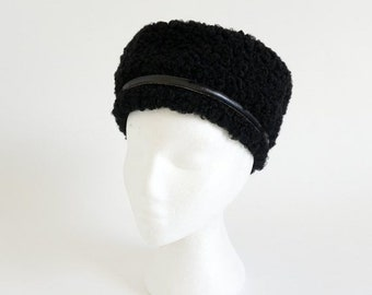 Shop SALE Vintage 1960s Womens Hat / 60s Black Persian Lambswool Tall Pillbox Hat VGC / Black Leather Band Accent