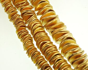 Brushed Gold Wavy Spacer Beads, Bright Gold Wavy Disk Spacer, Gold Rondelles -  6mm 8mm 10mm