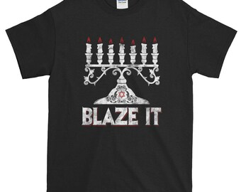 Happy Hanukkah Shirt Funny Blaze It Jewish Menorah Holiday Gift Women Men T-Shirt