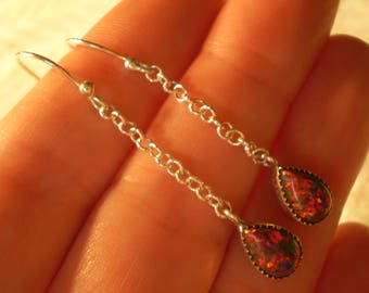 """Opal (Created) 925 Antiqued Sterling Silver French Wire Earrings 1 7/8"""""""