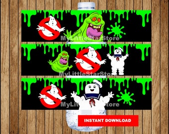 Ghostbusters bottle labels, Printable Ghostbusters water bottle labels, Ghostbusters party water labels Instant download