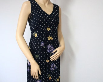 Dress Vintage Dress Boho Maxi Dress Romantic Floral by Nostalgia Navy Blue Long Hippie Flowered Dress Size Small