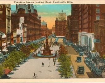 Linen Postcard, Cincinnati, Ohio, Fountain Square Looking East, ca 1920