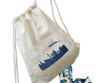Gym bag YOKOHAMA skyline-print in blue - YOKOHAMA skyline - handscreen printed in Berlin - Design by 44spaces