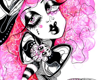 Pink Hair Day of The Dead Sugar Skull Girl Ink and Watercolor Illustration