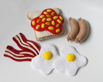 Felt Food Breakfast Set, Bacon and Eggs, Toast and Beans, Breakfast Sausages, Play Kitchen, Play Shop, Play Cafe, Pretend Play