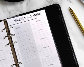 PRINTED Weekly Cleaning Schedule | Printed Personal Planner Refill, Cleaning Checklist, Cleaning Planner Pages, Websters Color Crush Inserts