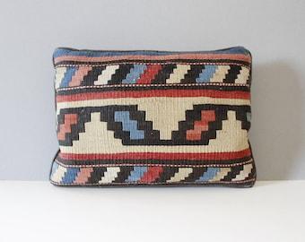 Vintage Kilim Pillow Reds Blues Geometric Mid Century