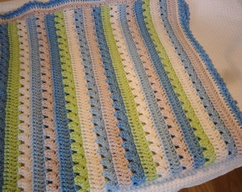 Crochet Baby blanket -Baby striped blanket -Blue and green striped blanket
