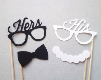 4-Piece His and Hers Glasses - Wedding Photo Booth Props - Wedding Reception - Mr. and Mrs.