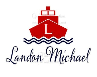 Nautical Personalized Wall Decal with Boat and Waves Theme Baby Nursery Decor 22H x 32W FN0177